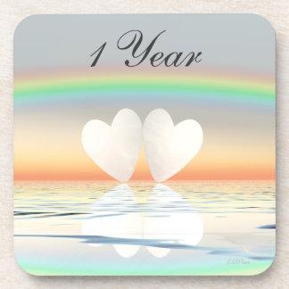 1st Anniversary Paper Hearts Coaster