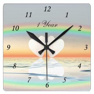 1st Anniversary Paper Hearts Square Wall Clock