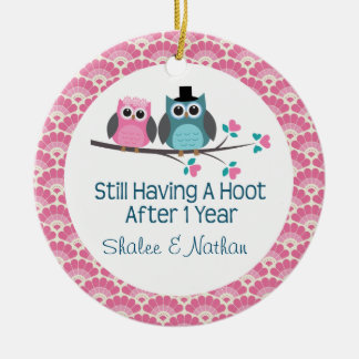 1st Anniversary Personalized Owl Couple Gift Christmas Ornament