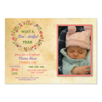 1st Birthday 1 One derful first Party Photo Invite