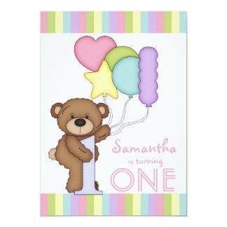 1st Birthday Bear Rainbow Stripes and Balloons 13 Cm X 18 Cm Invitation Card