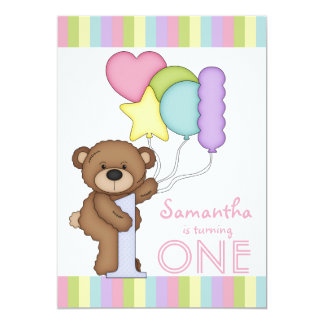 1st Birthday Bear Rainbow Stripes and Balloons Card