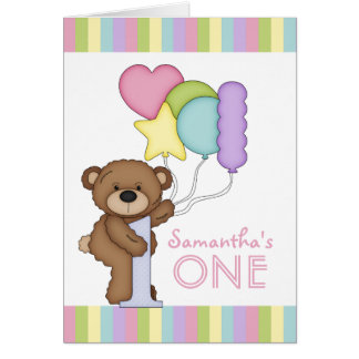 1st Birthday Bear Rainbow Stripes and Balloons Greeting Card