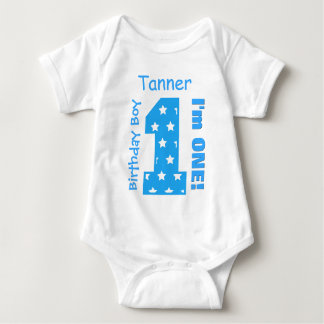 1st Birthday Boy STARS 1 Year Custom Name V13 Baby Bodysuit