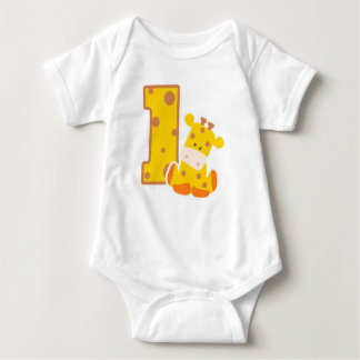 1st Birthday Giraffe Baby Bodysuit