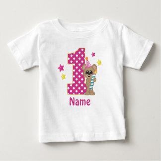 1st Birthday Girl Bear Personalised T Shirt