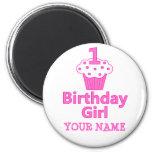 1st Birthday Girl Cupcake Design Fridge Magnet