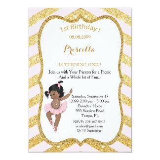 1st Birthday GIRL,Ethnic 1st Birthday,Ballerine 13 Cm X 18 Cm Invitation Card