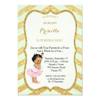 1st Birthday GIRL,Picnic 1st Birthday,1st Birthday 13 Cm X 18 Cm Invitation Card