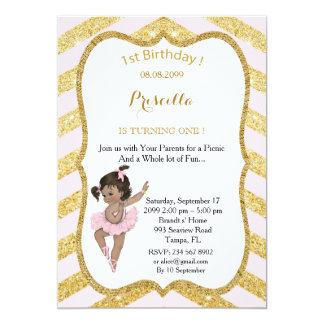 1st Birthday GIRL,Picnic 1st Birthday,Ballerine 13 Cm X 18 Cm Invitation Card