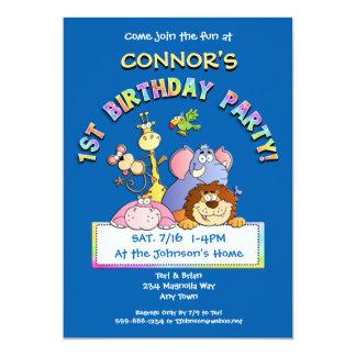 1st Birthday Party Add a Photo Animal Invitations