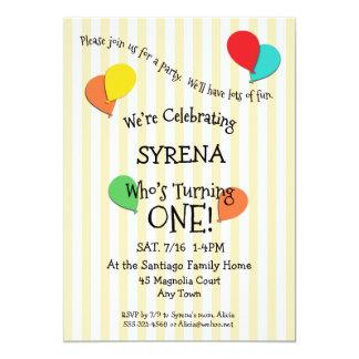 1st Birthday Party Add a Photo Balloons Invitation