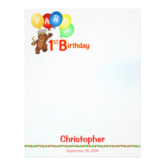 1st Birthday Party Royal Bear Scrapbook  Paper 1 Full Color Flyer