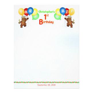 1st Birthday Party Royal Bear Scrapbook  Paper 2 Flyer Design
