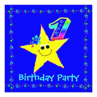 1st Birthday Party Smiley Stars Invitations