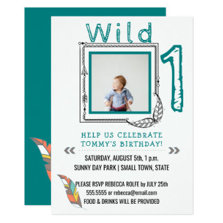1st Birthday Party Wild One Tribal Arrows Feathers Card