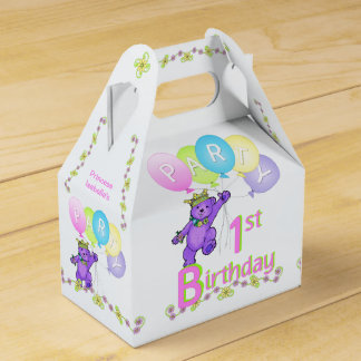 1st Birthday Princess Bear Custom Favour Box