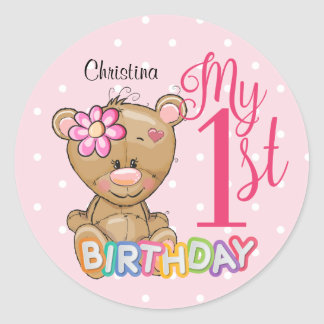 1st Birthday Teddy Bear Pink Custom Classic Round Sticker