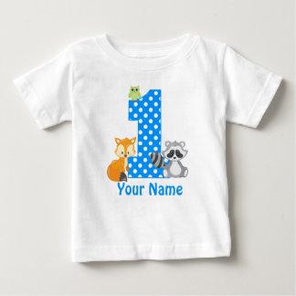 1st Birthday Woodland Blue Personalised T-shirt