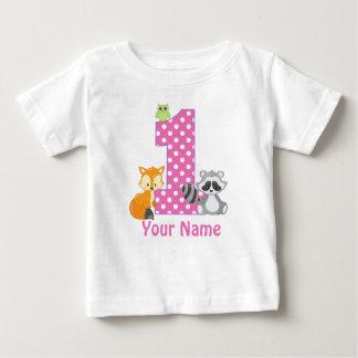 1st Birthday Woodland Pink Personalised T-shirt
