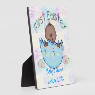 "1st Easter Ethnic Baby Boy Plaque With Easel 5""x5"""