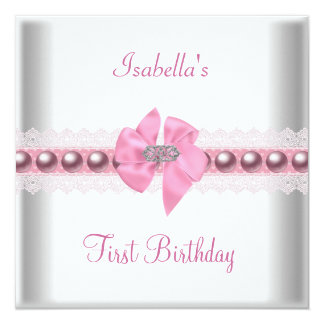 1st First Birthday Party Pretty Pink Bow 13 Cm X 13 Cm Square Invitation Card