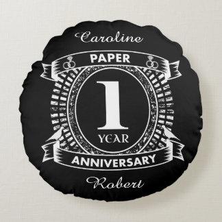 1ST wedding anniversary distressed crest Round Cushion