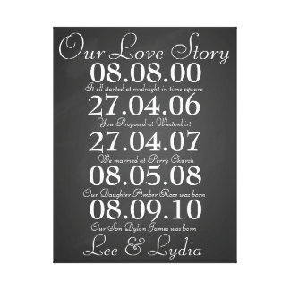 1st Wedding Anniversary our love story dates Canvas Print