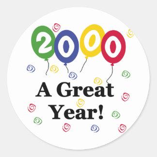 2000 A Great Year Birthday Round Sticker