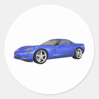 2008 Corvette: Sports Car: Blue Finish: Classic Round Sticker