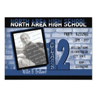2012 Brickwork Graffiti / Blue 13 Cm X 18 Cm Invitation Card