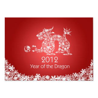 2012 Happy Chinese New Year Dragon Red Card 13 Cm X 18 Cm Invitation Card