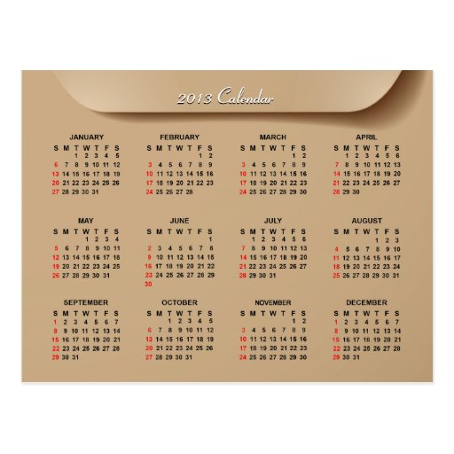 2013 Calendar with Cool Manila Envelope Style | Post Card