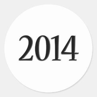 2014 Black 3D Graduation Classic Round Sticker