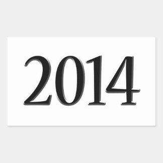 2014 Black 3D Graduation Rectangular Sticker