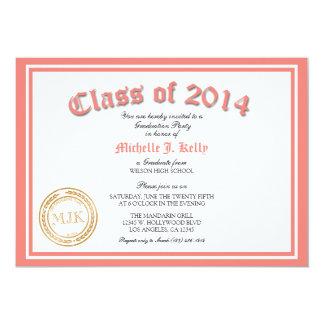 2014 Coral Pink Diploma Graduation Party 13 Cm X 18 Cm Invitation Card