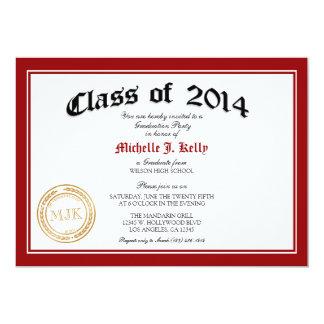 "2014 Diploma Graduation Party 5"" X 7"" Invitation Card"
