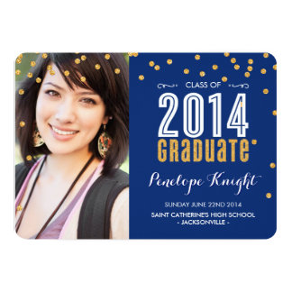 2014 GRADUATE gold glitter confetti royal blue 13 Cm X 18 Cm Invitation Card
