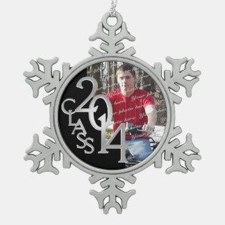 2014 Graduate Photo Snowflake Pewter Christmas Ornament