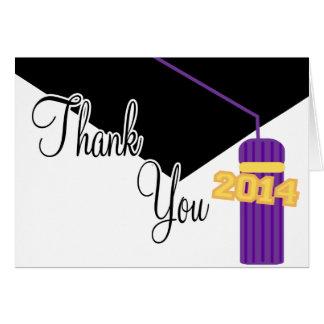 2014 Graduation Cap And Tassel Thank You (Purple) Greeting Card