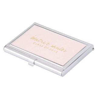 2014 Graduation Grad Blush Pink Gold Personalized Business Card Holder