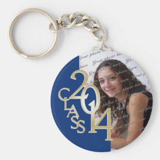 2014 Graduation Keepsake Blue Basic Round Button Key Ring