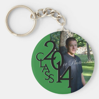 2014 Graduation Keepsake Green Basic Round Button Key Ring