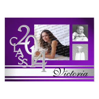 """2014 Graduation Purple and Silver Tri Photo 5"""" X 7"""" Invitation Card"""