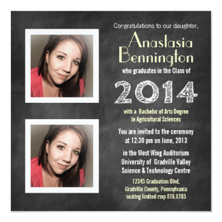2014 Mod Chalkboard 2 Photo Graduation 13 Cm X 13 Cm Square Invitation Card