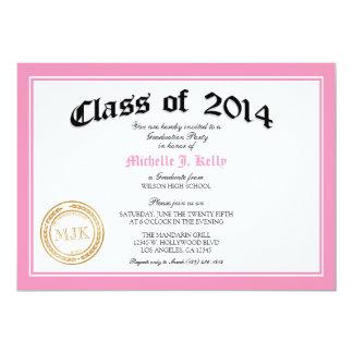 "2014 Pink Diploma Graduation Party 5"" X 7"" Invitation Card"