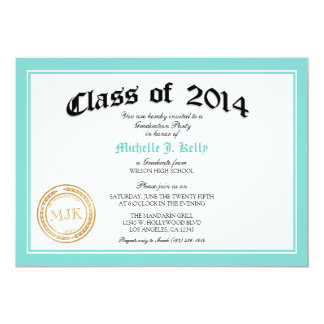 2014 Teal Blue Diploma Graduation Party 13 Cm X 18 Cm Invitation Card
