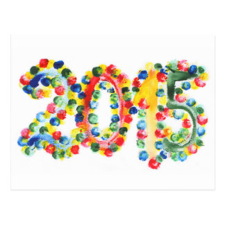 2015 colorful poster paint with finger tips postcard