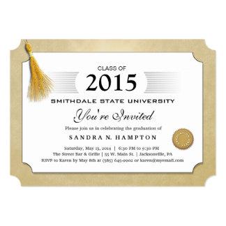 2015 Diploma Graduation Gold Border & Gold Tassel 5x7 Paper Invitation ...
