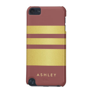 2015 Marsala Trendy Color and Gold Glitter Stripes iPod Touch 5G Case